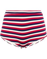 Solid & Striped - The Jamie Striped Ribbed High-rise Bikini Briefs Red - Lyst