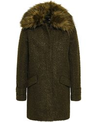 Line Ludwig Faux Fur-trimmed Bouclé Coat Army Green