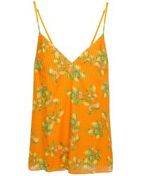 Cami NYC Olivia Printed Cotton And Silk-blend Jacquard Camisole Orange