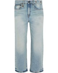 R13 - Camille Cropped Mid-rise Wide-leg Jeans Light Denim - Lyst