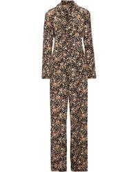 Adam Lippes - Metallic Floral-print Silk-twill Jumpsuit - Lyst