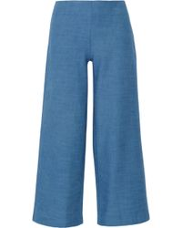 Solid & Striped - The Side Zip Cotton-chambray Flared Trousers - Lyst