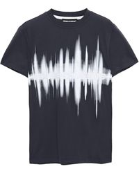 House of Holland Printed Cotton-jersey T-shirt Navy - Blue