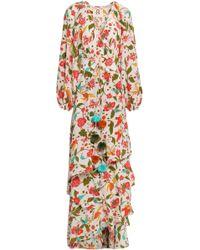 Figue Tiered Floral-print Silk Crepe De Chine Maxi Wrap Dress White