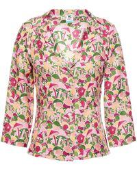 M Missoni Printed Satin-jacquard Shirt - Pink