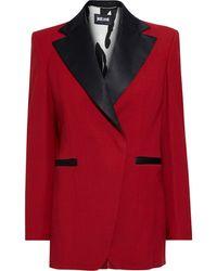Just Cavalli Satin-trimmed Crepe Blazer - Red