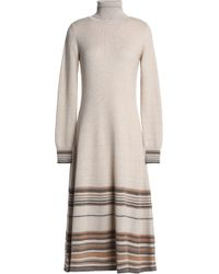 Agnona - Striped Metallic Cashmere-blend Midi Dress - Lyst