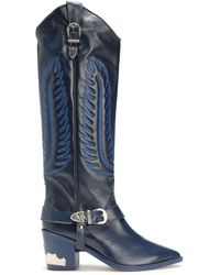 Toga Buckled Embroidered Leather Boots Navy - Blue