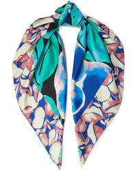 Diane von Furstenberg Jella Printed Silk-twill Scarf - Blue
