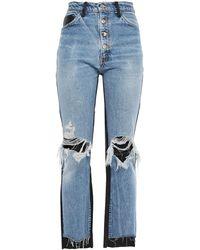 Amiri Leather-paneled Distressed High-rise Flared Jeans - Blue