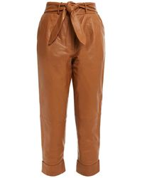 Walter Baker Zoey Cropped Belted Leather Straight-leg Trousers - Brown