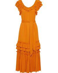 Marissa Webb Elio Belted Ruffled Crepe Midi Dress Orange