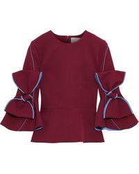 ROKSANDA - Bow-embellished Cady Peplum Top Claret - Lyst
