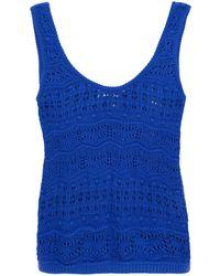 Cotton by Autumn Cashmere Pointelle-knit Tank Royal Blue