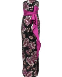 Marchesa notte - Strapless Bow-embellished Sequined Crepe Gown Magenta - Lyst