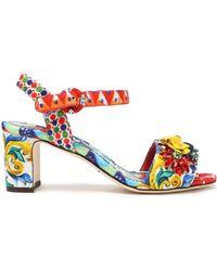 Dolce & Gabbana - Embellished Printed Jacquard Sandals - Lyst