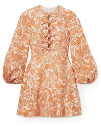 Zimmermann Peggy Scalloped Mini Dress - Orange