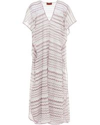 Missoni Mare Metallic Crochet-knit Kaftan - White