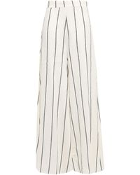 Paper London Striped Linen-blend Wide-leg Pants Ivory - White