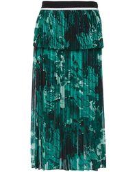 Victoria, Victoria Beckham Gestufter Midirock Aus Plissiertem Crêpe Mit Print - Grün