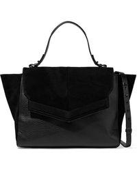 Halston Suede And Pebbled-leather Shoulder Bag Black