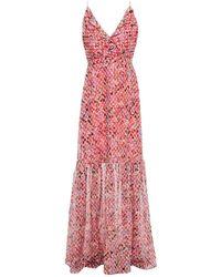 Saloni Ruffled Floral-print Fil Coupé Silk-blend Georgette Maxi Dress - Pink