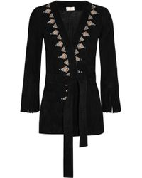 Talitha - Fringed Embroidered Suede Kimono Jacket - Lyst