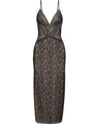 Haute Hippie - Tess Tulle-paneled Lace Midi Dress - Lyst