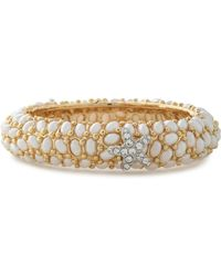 Kenneth Jay Lane - Gold-tone Crystal And Faux Pearl Bracelet - Lyst