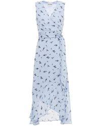 Ganni - Ruffled Floral-print Georgette Midi Wrap Dress Light Blue - Lyst