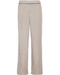 Bottega Veneta - Printed Silk Crepe De Chine Wide-leg Trousers - Lyst