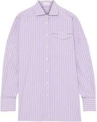 Brunello Cucinelli - Bead-embellished Striped Cotton-blend Poplin Shirt - Lyst