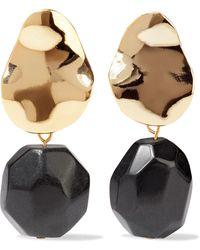 Iris & Ink Thurid 18-karat Gold-plated Onyx Earrings Gold - Metallic