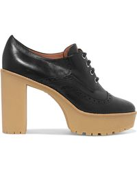 RED Valentino - Panelled Lace-up Leather Court Shoes - Lyst