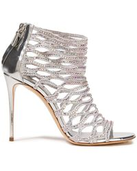 Casadei Crystal-embellished Woven And Mirrored-leather Sandals - Metallic