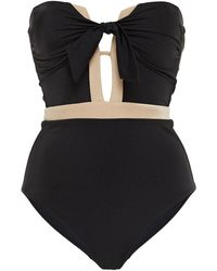 Jets by Jessika Allen Knotted Cutout Two-tone Bandeau Swimsuit - Black