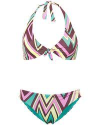 M Missoni Tie-front Printed Halterneck Bikini - Multicolour