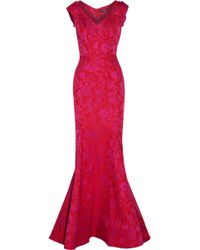 Zac Posen - Pleated Jacquard Gown - Lyst