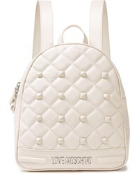 Love Moschino Studded Quilted Faux Leather Backpack Ivory - White