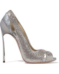 Casadei Cutout Two-tone Glittered Metallic Woven Pumps Platinum