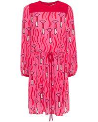 Valentino Gathered Printed Silk Crepe De Chine Mini Dress Pink