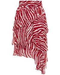 Étoile Isabel Marant Jeezon Tiered Zebra-print Chiffon Skirt Crimson
