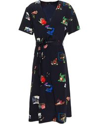 PS by Paul Smith Belted Printed Silk Crepe De Chine Mini Dress - Black