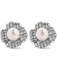 Kenneth Jay Lane Tone, Crystal And Faux Pearl Clip Earrings - Metallic