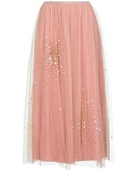RED Valentino Layered Point D'esprit And Embellished Tulle Maxi Skirt Antique Rose - Pink