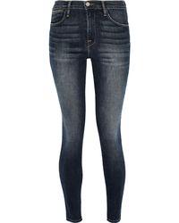 FRAME Faded High-rise Skinny Jeans Dark Denim - Blue