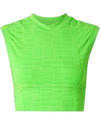 TWENTY MONTREAL Twenty Montréal Rothko 3d Cropped Stretch Jacquard-knit Top Bright Green