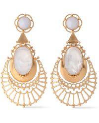 Kate Spade - Woman Gold-tone Crystal Earrings White - Lyst