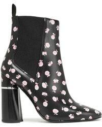 3.1 Phillip Lim Drum Floral-print Leather Ankle Boots Black