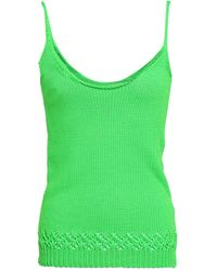 Les Rêveries Neon Pointelle-trimmed Knitted Tank - Green